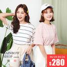 夾心條紋配色短袖T恤-N-Rainbow【A30-10080】