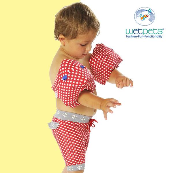 德國兒童泳裝組/男童泳褲//附臂圈/嬰幼兒-白星星紅(98-110) WETPETS Q-C-12-BH-VE-72