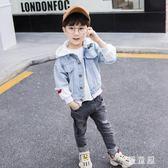 男童牛仔外套春秋小童連帽夾克假兩件上衣兒童休閒男寶寶 QG20281『優童屋』