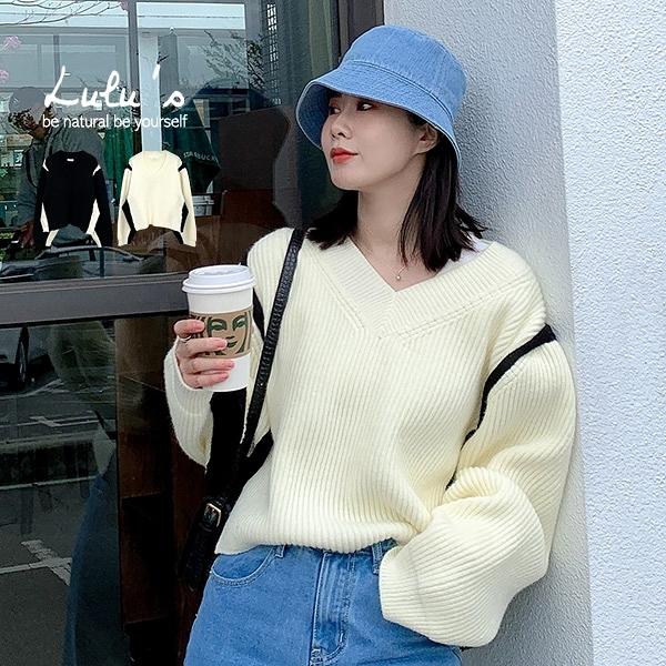 LULUS【A01200999】Y自訂款配色寬鬆針織上衣2色