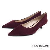 Tino Bellini冬季啞光羊麂皮OL低跟鞋_酒紅 VI8551