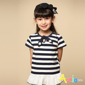 Azio 女童 上衣 領結小花下擺波浪橫條短袖上衣(藍) Azio Kids 美國派 童裝