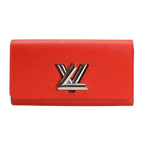 Louis Vuitton LV M61179 TWIST EPI 斜水波紋皮革LOGO扣鎖長夾.紅 全新 預購【茱麗葉精品】