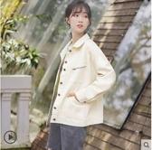 牛仔外套2020新款純色春秋外套女學生棒球服bf風寬鬆短款工裝夾克潮 草莓妞妞