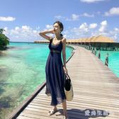 度假洋裝雪紡紗裙 2019沙灘裙女顯瘦露背海邊長裙超仙吊帶裙連身裙 QX9629 『愛尚生活館』