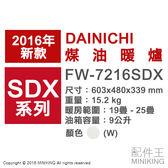 【配件王】日本代購 空運 一年保 DAINICHI FW-7216SDX 白 煤油暖爐 25疊