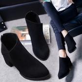 冬季新款英倫風圓頭粗跟中跟加絨馬丁靴防水臺磨砂短靴高跟女鞋子