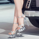 15cm/厘米超高跟涼鞋 夜店恨天高女鞋 厚底防水台模特走秀鞋婚鞋      韓小姐