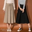 現貨◆PUFII-中長裙 腰抽繩素面A字...