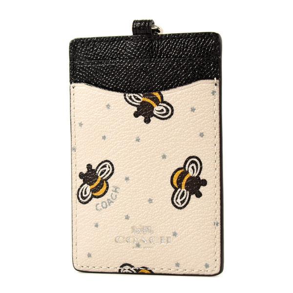 美國正品 COACH 小蜜蜂防刮皮革識別證掛帶票卡夾-黑/白【現貨】