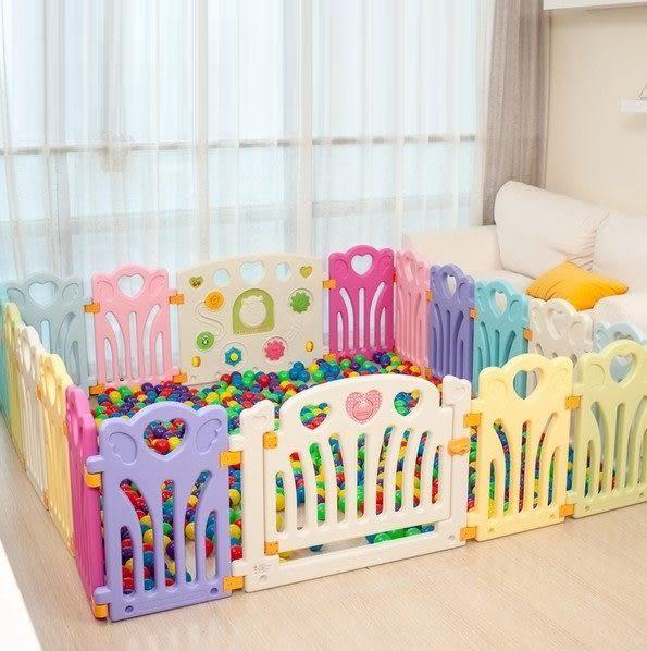麻麻乖寶貝安全圍欄 遊戲圍欄 嬰兒護欄 寶寶柵欄 護欄 圍欄愛心16小1門1遊戲片-0054