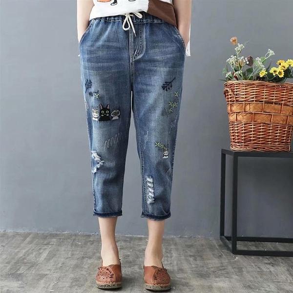 *ORead*復古文藝刺繡鬆緊七分牛仔褲(藍色M~3XL)