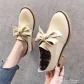 白色配裙子小皮鞋女英倫風秋季新款一腳蹬單鞋高跟鞋粗跟百搭 萬聖節全館免運