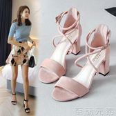 粗跟鞋涼鞋女夏中跟粗跟新款一字扣帶仙女風韓版百搭學生羅馬高跟鞋 至簡元素