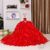 (超夯免運)大號芭芘比娃娃婚紗大裙拖尾豪華高端玩具兒童女孩生日新年禮物羽毛公