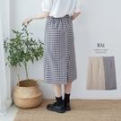 方塊格紋後開叉鬆緊長窄裙M-L號-BAi...