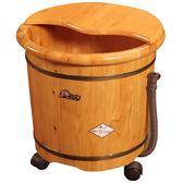 在水一方香柏木泡腳桶家用泡腳木桶加高帶蓋小木盆泡腳盆女足浴桶QM 藍嵐