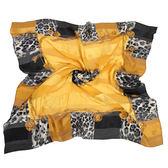 Christian Dior 時尚豹紋項鍊框邊緞面領帕巾(黃) 179009-2