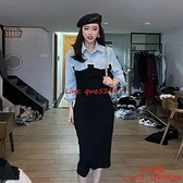 設計感牛仔拼接假兩件修身顯瘦連身裙女秋氣質中長裙【CH伊諾】