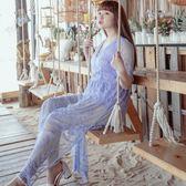 Poly Lulu 夏季浪漫透視感蕾絲刺繡連身褲-紫【96280032】
