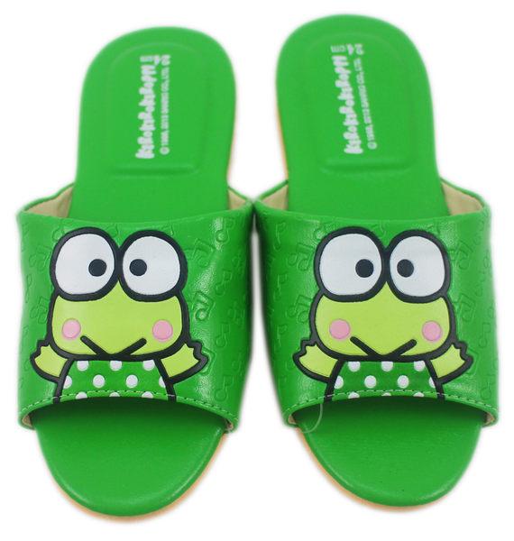 【卡漫城】 大眼蛙 室內拖 拖鞋 綠衣 二種尺寸 ㊣版 皮革 台灣製 24 / 25 cm Keroppi 可洛比 止滑