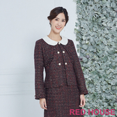 Red House 蕾赫斯-珍珠釦毛呢外套(紅色)