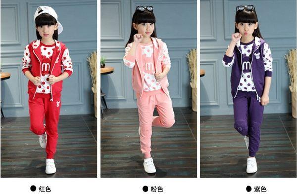 衣童趣♥韓版女童 甜美套裝 可愛印花 點點 三件組套裝 冬季加厚大童套裝