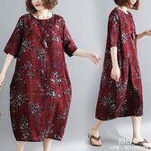 長裙 洋裝 外貿中大尺碼 女裝夏裝200斤妹妹藏肉顯瘦減齡棉麻連衣裙遮肚子顯瘦