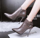 細跟短靴 秋冬新款女單靴尖頭細跟馬丁高跟及踝靴騎士加絨女靴子 DN18805【男人與流行】
