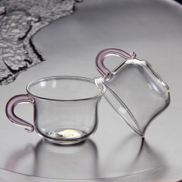 耐熱加厚功夫茶小茶杯 玻璃茶具帶把杯子個人單杯  彩把小杯品茗杯 100ml【端午節好康89折】