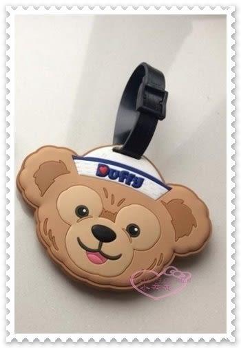 ♥小花花日本精品♥《Disney》迪士尼 達菲熊 行李掛牌 大頭造型 水手帽 出國必備 香港限定 90215407