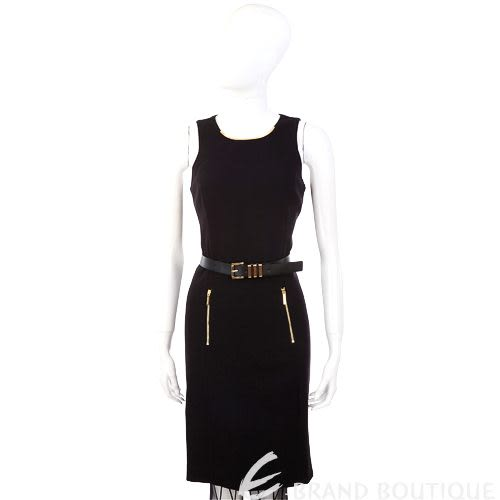 MICHAEL KORS 黑色金屬項圈飾無袖洋裝(附腰帶) 1240652-01