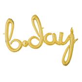 68*93公分公分草寫金色字母鋁箔氣球(不含氣)-Bday