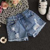 女童牛仔短褲破洞夏季女孩時尚童裝中大童韓版薄款熱褲     韓小姐の衣櫥