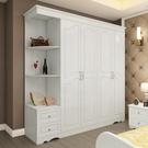 衣櫃歐式簡約現代三門板式轉角白色實木質臥室組合三門大衣櫥  免運快速出貨