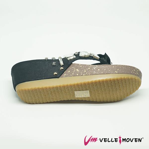 羊皮 人字拖 楔型拖 夏日時尚奢華 女鞋拖 VelleMoven MIT製 _貴婦黑