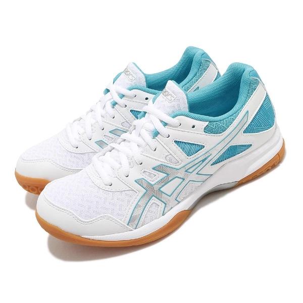 Asics 排球鞋 Gel-Task 2 白 藍 女鞋 室內 排球 膠底 運動鞋 【ACS】 1072A038102
