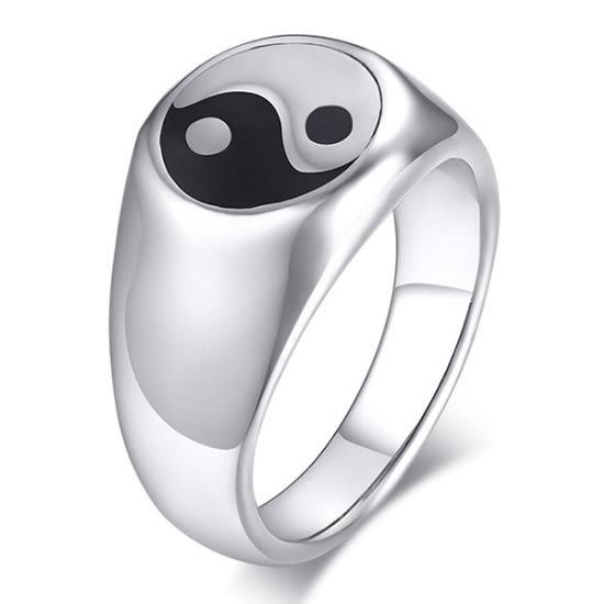 《 QBOX 》FASHION 飾品【RRC-439】精緻個性簡約太極八卦鈦鋼戒指/戒環