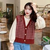 紅色馬夾針織衫馬甲女格子寬鬆背心外穿毛衣開衫【邻家小鎮】