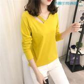 韓版修身打底衫V領長袖T恤女