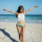 韓版女CORALCZY白色針織分體泳衣超仙沙灘必新款小紅書INS