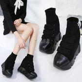踝靴 2017秋冬新款內增高短靴女鞋12cm坡跟毛線帶魔術貼英倫風馬丁靴 俏女孩
