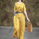 2021年春夏季新款亞麻民族風連衣裙女裝文藝復古長裙 快速出貨