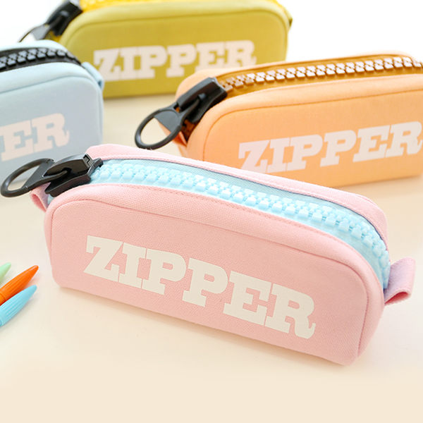 【00105】 ZIPPER 巨大拉鍊 大容量帆布筆袋 鉛筆盒 化妝包