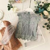 拼接網紗燈籠袖高腰露臍百搭上衣蕾絲衫 ☸mousika