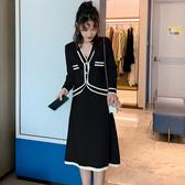 超殺29折 韓國小香風針織氣質線條拚色套裝長袖裙裝