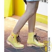 時尚平底短筒透明防滑水鞋馬丁雨靴套鞋成人雨鞋女【雲木雜貨】