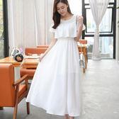 白色洋裝 雪紡洋裝顯瘦夏季長裙波西米亞中長款裙子圓領沙灘裙女 〖korea時尚記