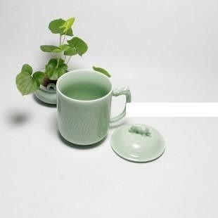 正宗龍泉青瓷 有蓋大茶杯