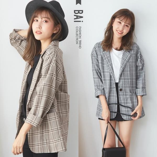 西裝外套 格紋配色雙口袋單釦翻領外套-BAi白媽媽【305741】